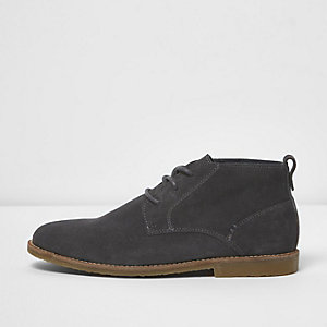 Dark grey suede desert boots