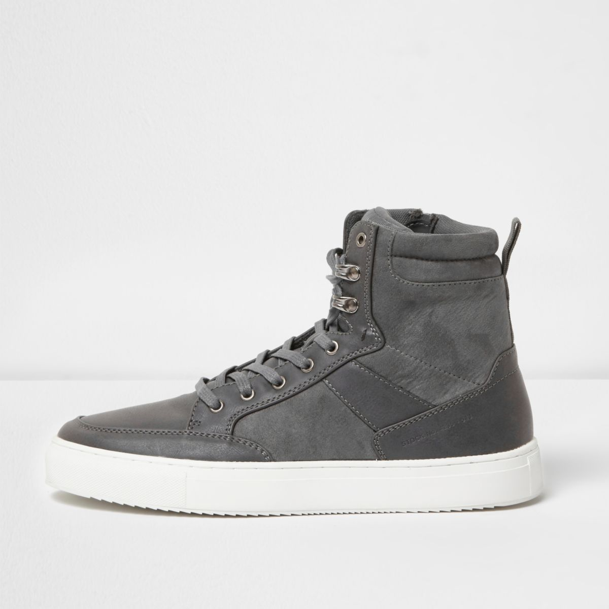 Grey high top contrast sole lace-up trainers