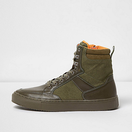 Green high top lace-up trainers