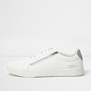 White side zip lace-up trainers
