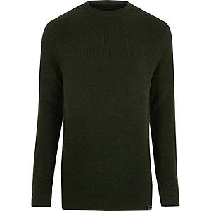 Grüner Pullover mit Rundhalsausschnitt
