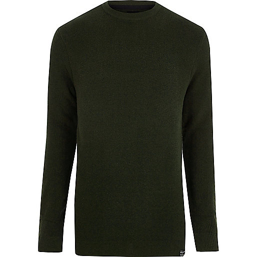 Green ribbed crew neck patch sweater