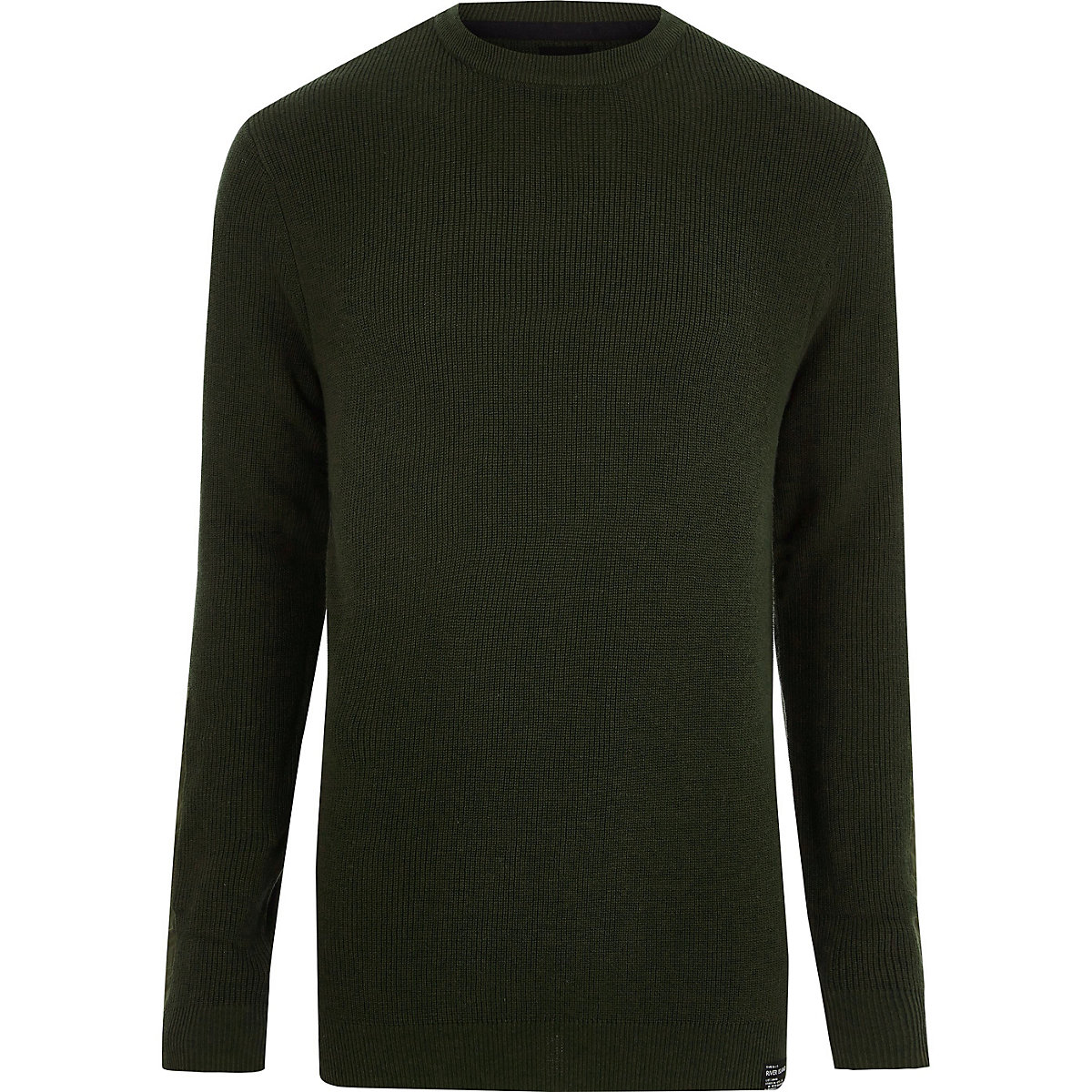 Green ribbed crew neck patch jumper