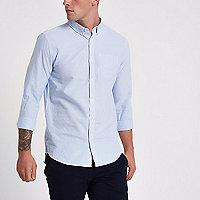 Blue stripe print slim fit button-down shirt