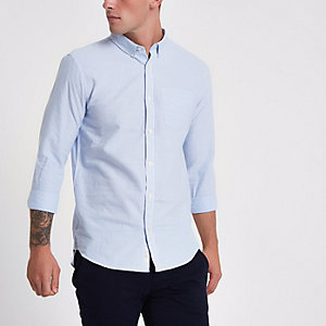 Blue stripe print slim fit button-down shirt