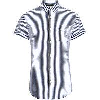 Big and Tall blue stripe short sleeve shirt