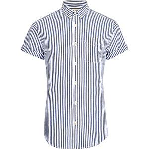 Big and Tall - Blauw gestreept overhemd met korte mouwen