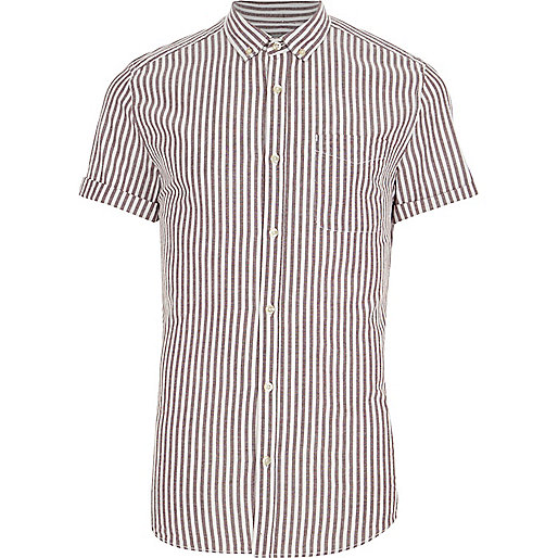 Purple stripe short sleeve slim fit shirt