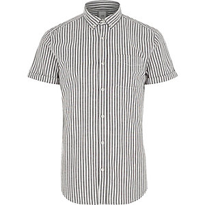 Grey stripe slim fit short sleeve shirt