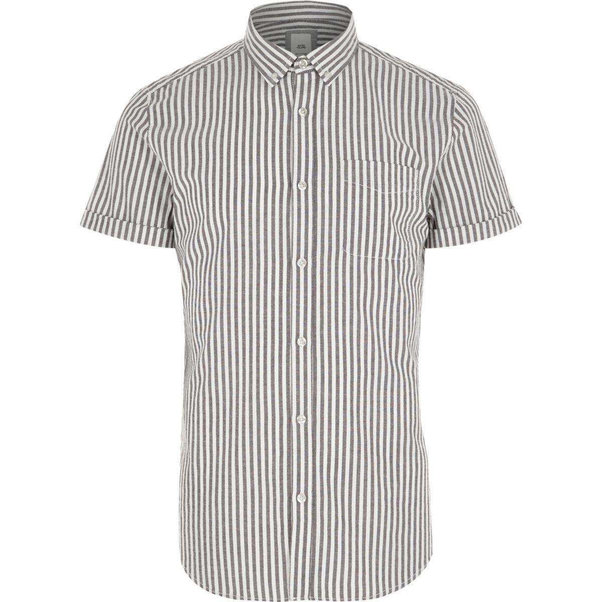 Grey stripe slim fit short sleeve shirt