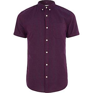 Burgandy stripe short sleeve slim fit shirt