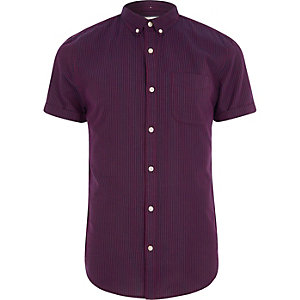 Donkerrood gestreept slim fit overhemd met korte mouwen