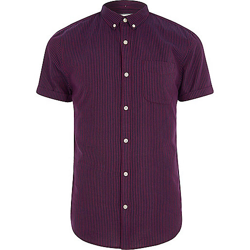 Dark red stripe short sleeve slim fit shirt