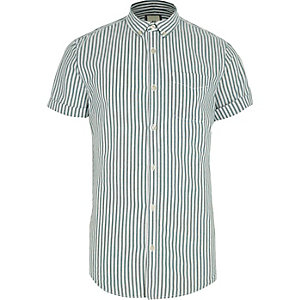 Green stripe short sleeve slim Oxford shirt