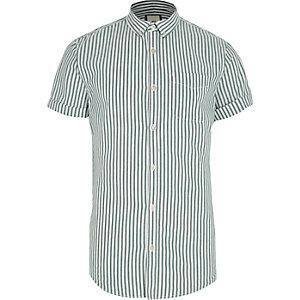 Groen gestreept slim-fit Oxford overhemd met korte mouwen