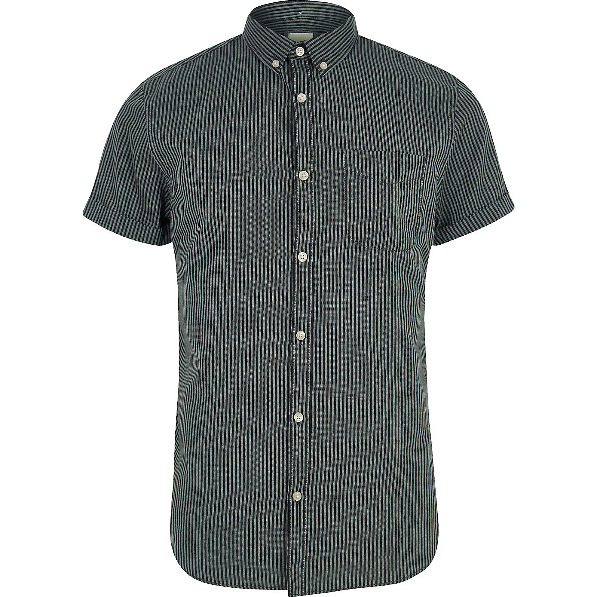 Black stripe short sleeve slim fit shirt
