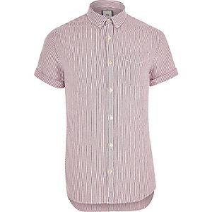 Big and Tall purple stripe short sleeve shirt