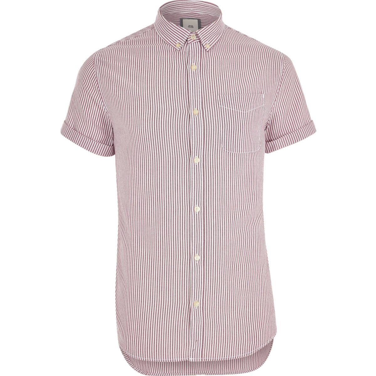 Big and Tall purple stripe short sleeve shirt
