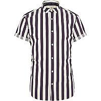 Purple stripe slim fit short sleeve shirt