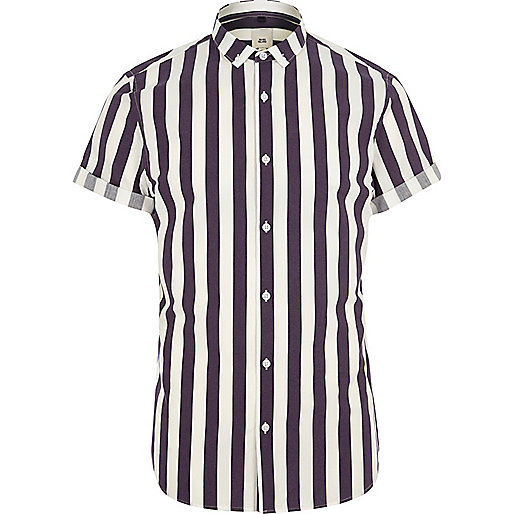 Purple stripe slim fit short sleeve shirt