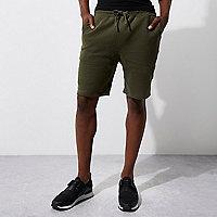 Dunkelgrüne Jersey-Shorts