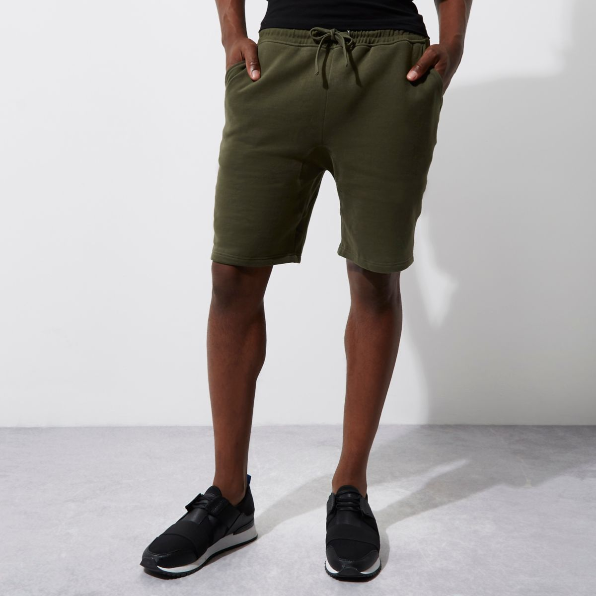 Dark green jersey shorts