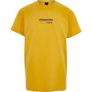 Geel casual T-shirt met 'end game'-print