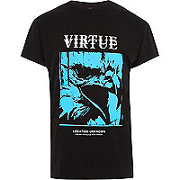 Black 'virtue' eagle print slouch T-shirt