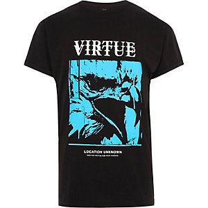 Black 'virtue' eagle print slouch T-shirt
