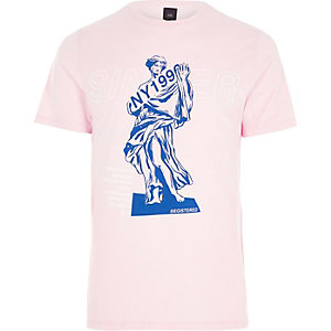 Pink 'sinner' print slim fit T-shirt