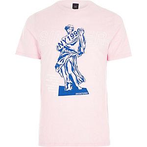 Roze slim-fit T-shirt met 'Sinner'-print
