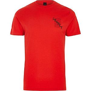 Rood slim-fit T-shirt met 'legacy'-print