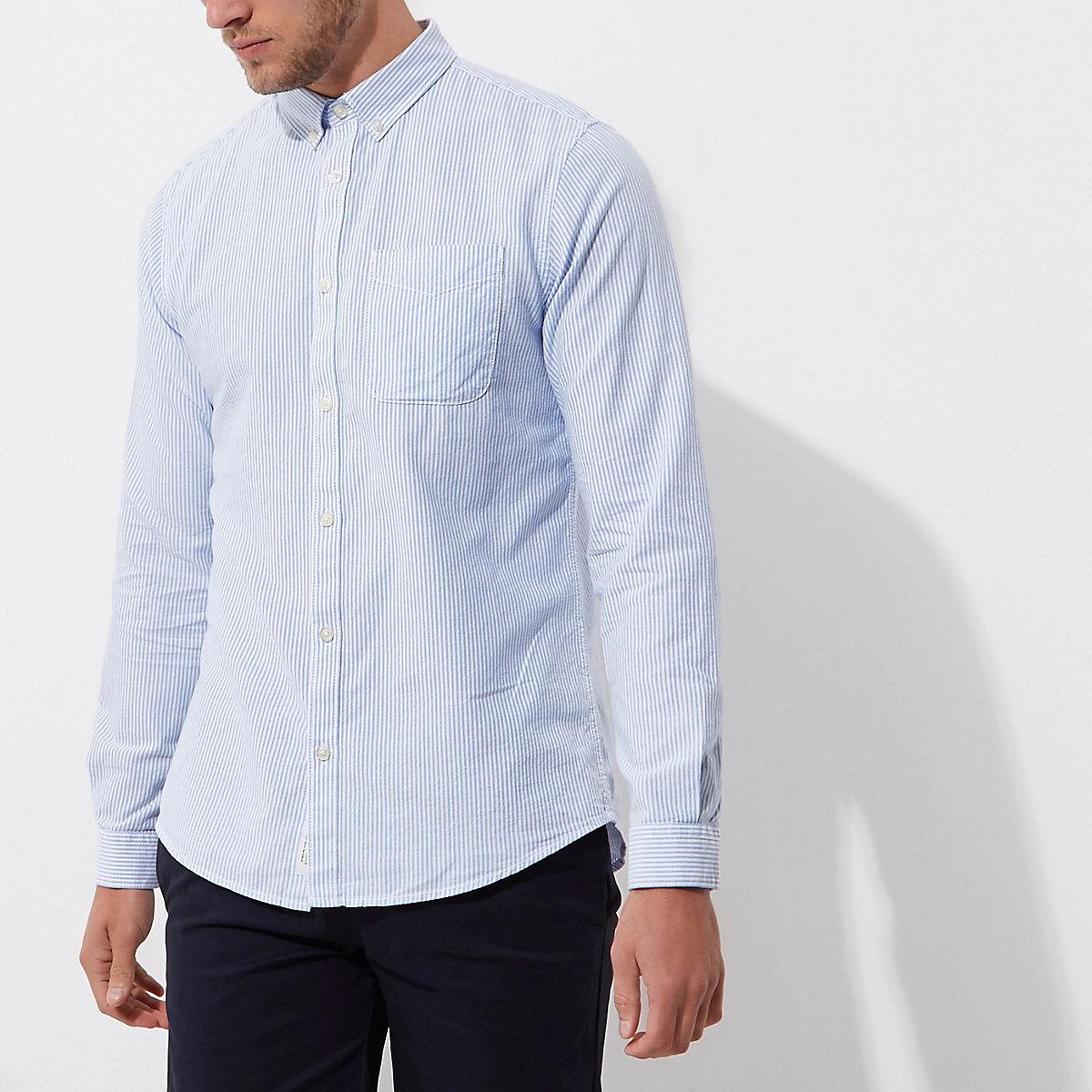 Blue stripe button-down collar casual shirt
