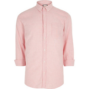 Chemise Oxford casual rayée rose à boutons