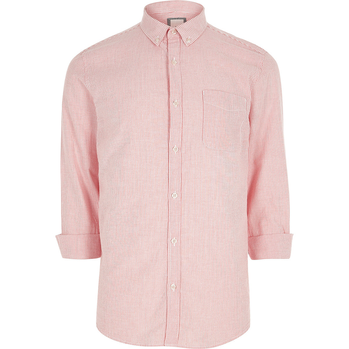 Pink stripe casual button-down Oxford shirt