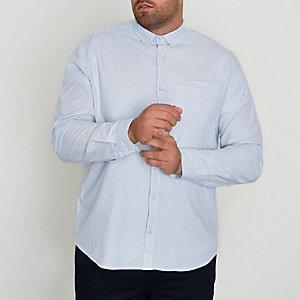 Big & Tall – Chemise oxford rayée bleue