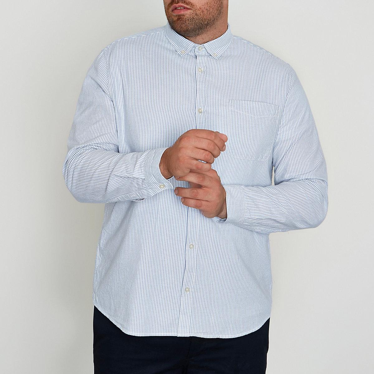 Big and Tall blue stripe print Oxford shirt
