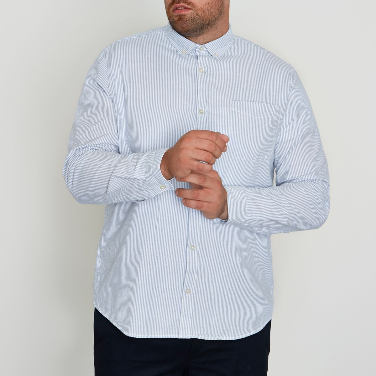 Big and Tall blue stripe print Oxford shirt