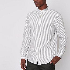 Graues, gestreiftes Oxford-Hemd mit langen Ärmeln