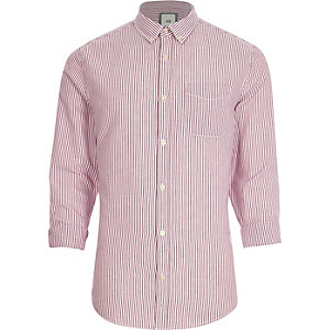 Purple stripe print button-down Oxford shirt