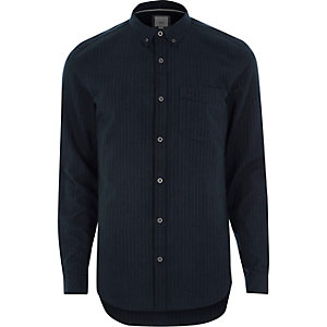 Navy stripe slim fit button-down shirt