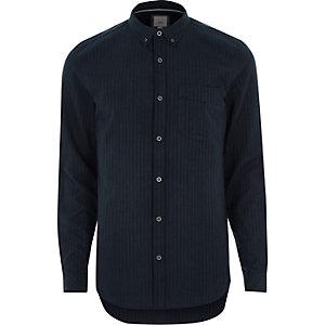 Marineblauw gestreept slim-fit overhemd met knopen