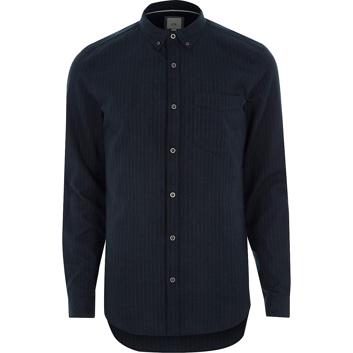 Navy stripe slim fit button-down shirt