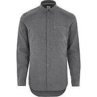Grey stripe slim fit button-down shirt