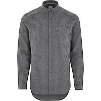 Chemise slim rayée grise boutonnée
