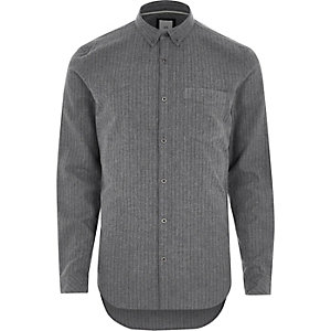 Grey stripe slim fit button-down shirt