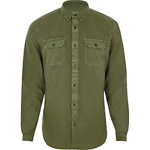 Khaki green double pocket slim fit shirt