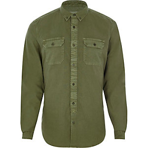 Khaki green double pocket slim fit shirt