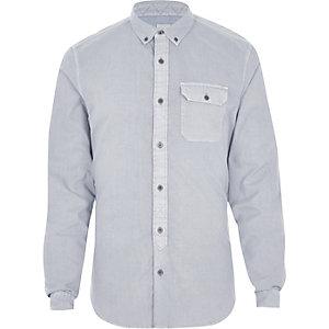 Graues Slim Fit Button-down-Hemd
