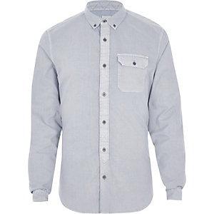 Grijs washed slim-fit overhemd met button-down kraag